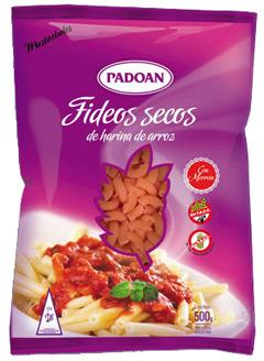 Pastas secas de Arroz PADOAN. Mostacholes con Morrón. Libres de gluten, sin TACC. Riquíimos y rendidores, el mejor arroz y los mejores fideos son Padoan. Paquetes por 500 grs.