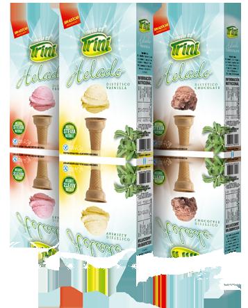 """Estos alimentos fueron diseñados pensando en las necesidades y requerimientos particulares de nuestro consumidor """"mimado"""" (personas con diabetes y celiaquía). Logramos este exquisito polvo para preparar helados de Vainilla y Frutilla, SIN AZUCAR y SIN TACC."""