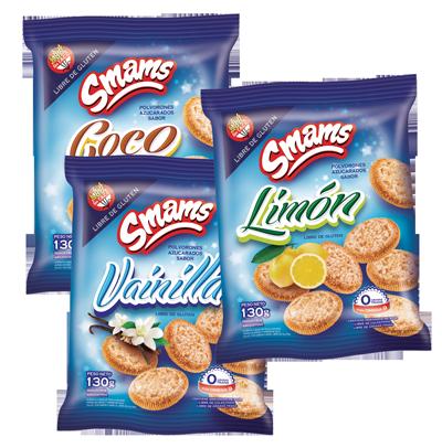 Deliciosas galletitas dulces, sabores limón, coco y vainilla. Pack ideal para el colegio o la oficina, horneados y sin grasas trans. Sin TACC. Libre de gluten.
