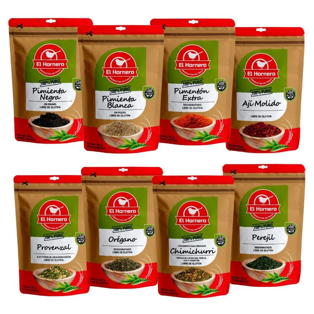 El Hornero presenta su linea de especias y condimentos elaborados cuidadosamente para lograr productos de calidad superior. Envasados en doypack con cierre zip que permiten mantener sus propiedades intactas.