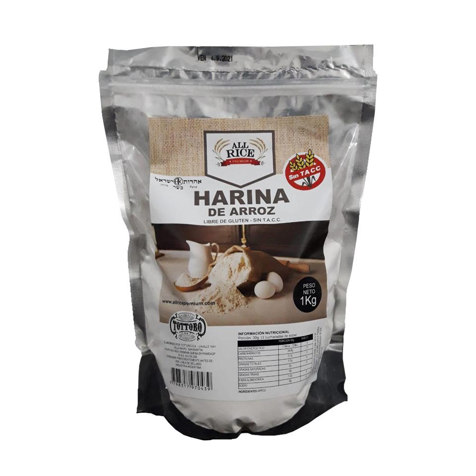 Excelente Harina de arroz. Envases por 1kg. Libre de Gluten. Sin TACC.