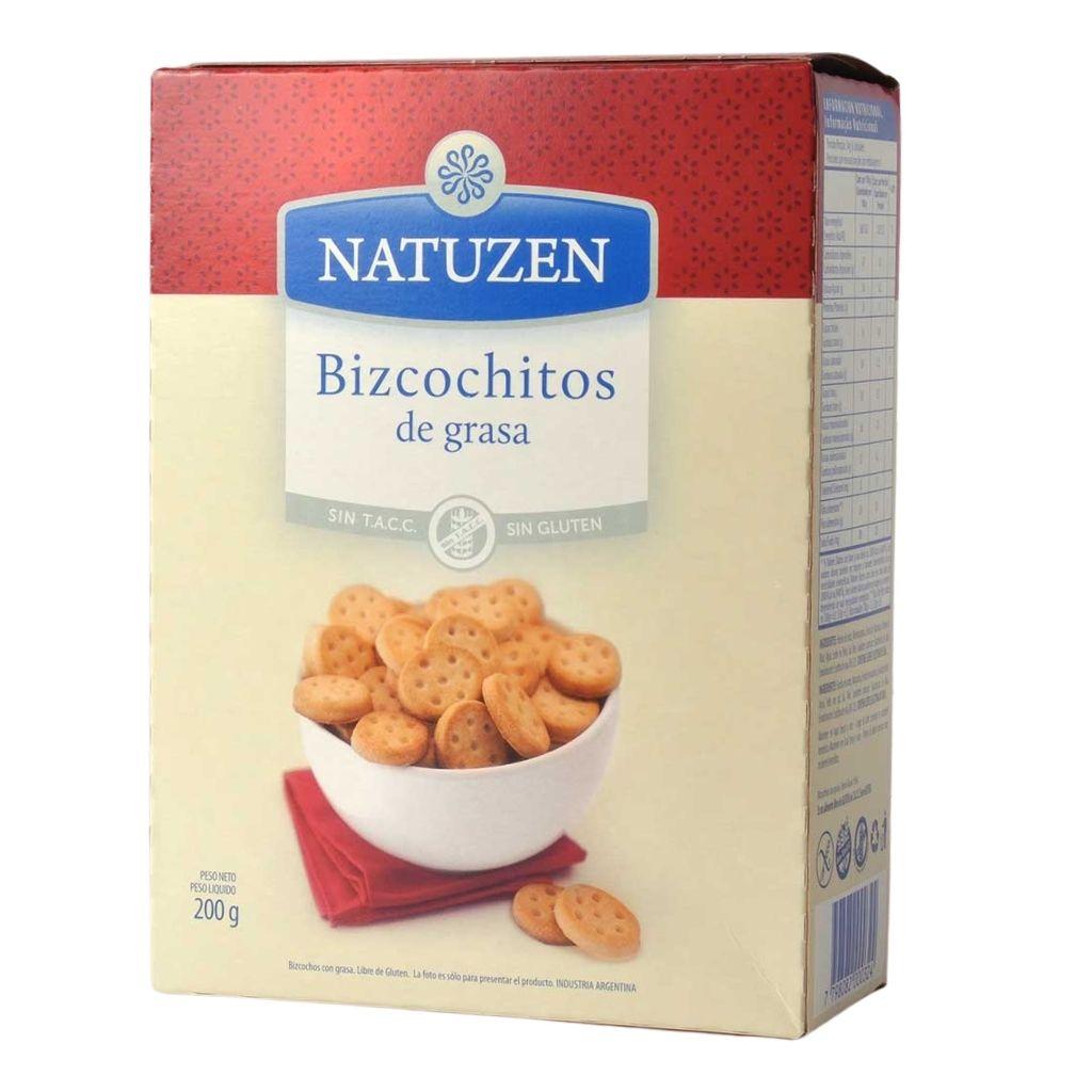 Tradicionales bizcochitos de grasa de la linea Natuzen de galletitas libres de gluten.