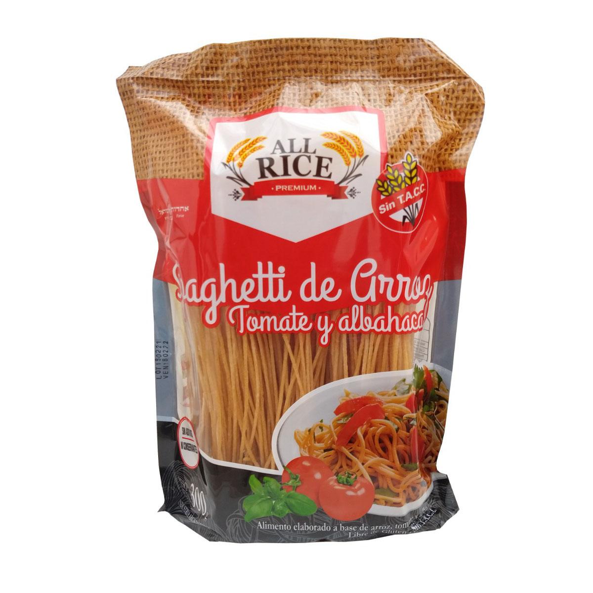 Spaghettis de arroz All Rice Premium son elaborados íntegramente a base de arroz. Vienen en 3 variedades. Clásicos, Tomate&Albahaca y Espinaca. Libres de gluten.