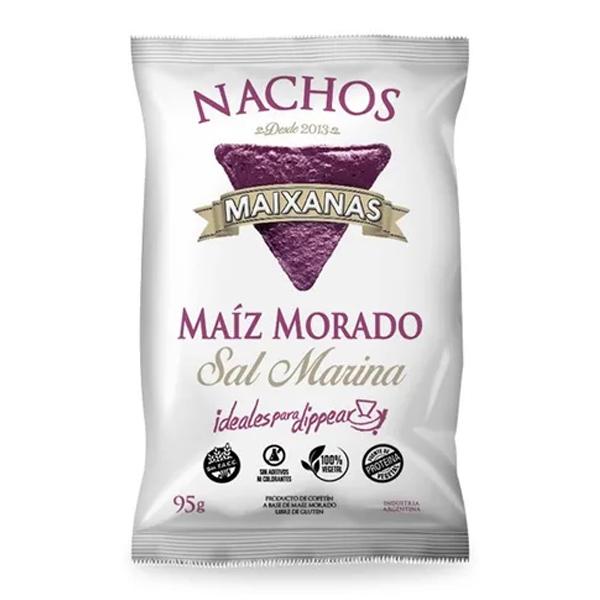 Riquísimos y super novedosos nachos elaborados a base de maz morado orgánico y un toque justo de sal marina, que los hacen únicos y muy divertidos de comer. Sin TACC.
